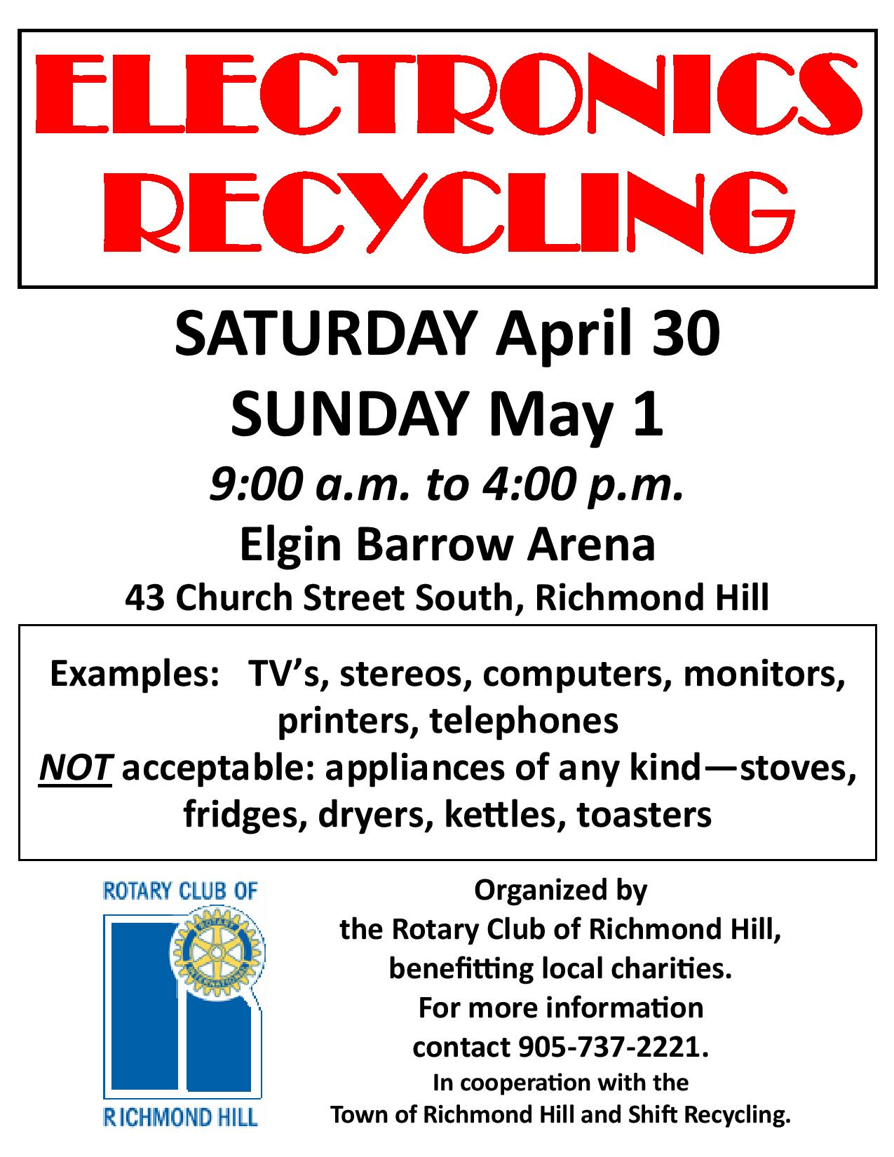 Electronics Recycling Fundraiser for Rotary